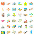 city station icons set cartoon style vector image vector image