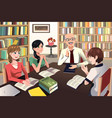 college students having a discussion vector image vector image