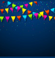 colorful bunting flags with confetti festive vector image