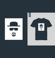 cool man in sunglasses and hat t-shirt design vector image