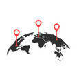 curved world map with red pins vector image