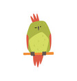 cute bird sitting on perch funny birdie cartoon vector image