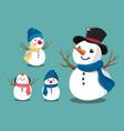 cute snowman set vector image vector image