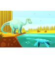 Dinosaurus And Turtle Vintage Cartoon vector image
