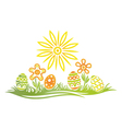 Easter meadow eggs vector image vector image