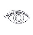 eye with eyelashes in monochrome silhouette dotted vector image vector image