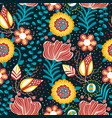 floral seamless pattern flowers in folk style vector image vector image