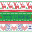 Green blue and red Scandinavian merry christmas vector image vector image