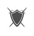 Grey icon of shield and two crossed swords vector image