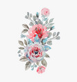 handmade watercolor bouquet of flowers - rose vector image vector image