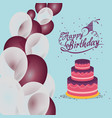 happy birthday cake balloons confetti vector image