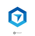 hexagon forward box arrow abstract polygon logo vector image