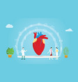 human heart health team doctor and nurse vector image