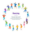 isometric dancing people characters banner card vector image