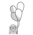 line pretty girl with hairstyle and balloons vector image vector image