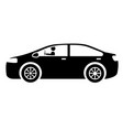 modern car with driver silhouette vector image vector image