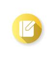 notebook app yellow flat design long shadow glyph vector image vector image