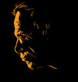old man with glasses portrait silhouette vector image