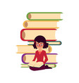pile of books and woman girl sitting and reading vector image vector image