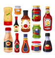 sauces and spices ketchup in bottles set vector image