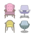 set colorful armchairs vector image