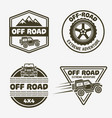 set of four off-road suv car monochrome emblems vector image