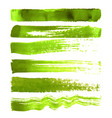 set of green brush strokes vector image vector image