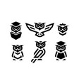 set of linear owl logo or design template vector image