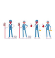 set of male and female janitor standing vector image vector image