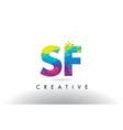 sf s f colorful letter origami triangles design vector image