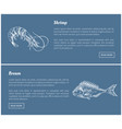 shrimp and bream marine products landing page vector image vector image