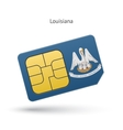 State of Louisiana phone sim card with flag vector image vector image