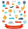 Summer flat icons set Summer holiday vector image vector image