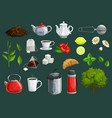 tea icons cups teapot leaves sugar teabags vector image