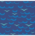 Waves and seagulls in blue colors Seamless pattern vector image vector image