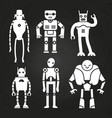 white robots and cyborgs on chalkboard vector image vector image