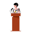 woman standing behind rostrum and giving a speech vector image vector image