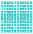 100 hi-school icons set grunge blue vector image vector image