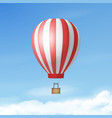 3d realistic white and red hot air balloon vector image vector image