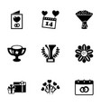 9 celebration filled icons set isolated on white vector image vector image