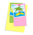 a set of colored office sticky sheets and photos vector image
