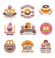 bakery shop logo donuts cookies fresh food vector image vector image