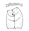 Bears Love Couple Embrace Outline vector image
