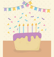 birthday cake with candles and garlands vector image