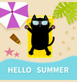black cat sunbathing on the beach yellow air pool vector image