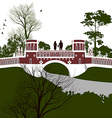 Boy and girl holding hands on the bridge vector image