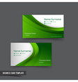 Business Card template set 049 green curve element vector image vector image