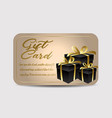 card template with glitter and present boxes vector image vector image