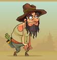 cartoon man with beard in an old hat sneaks vector image vector image