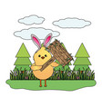chick with bunny ears vector image vector image